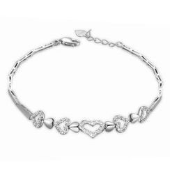 MaBelle - 14K Italian White Gold Hearts In Polished Finished and Diamond Cut Segment Bracelet (6.5'), Women Jewelry in Gift Box
