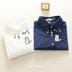 Mushi - Long-Sleeve Cat Embroidered Shirt
