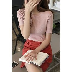 CHERRYKOKO - Round-Neck Short-Sleeve Knit Top