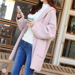 PINKSISLY - Hooded Open-Front Cardigan