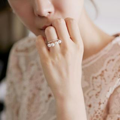 Ticoo - Faux-Pearl Layered Open Ring