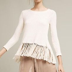 Obel - Tasseled Back Slit Sweater