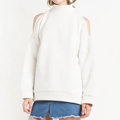 Obel - Cut Out Shoulder Mock Neck Pullover