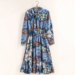 11.STREET - Floral Print Tie-Neck A-Line Dress