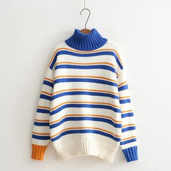 Aigan - Mock-Neck Striped Sweater
