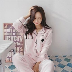 Babi n Pumkin - Pajama Set: Piped Button-Down Top + Pants
