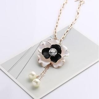 Love Generation - Rhinestone Flower Faux-Pearl Drop Necklace