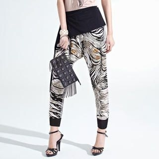 Moonbasa - Layered Patterned Harem Pants