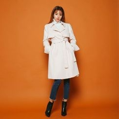 DABAGIRL - Flap-Front Wool Blend Coat with Sash
