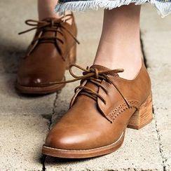 MIAOLV - Chunky Heel Brogue Oxfords