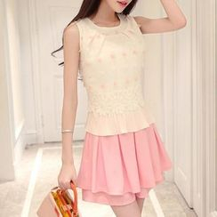 Ekim - Set: Pleated Hem Rosette Sleeveless Top + Plain Skort
