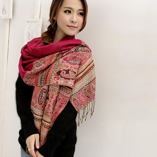 Cuteberry - Fringed Patterned Shawl