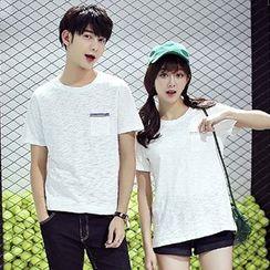 Azure - Couple Matching Embroidered Pocket Short Sleeve T-Shirt