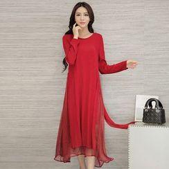 Diosa - Layered Long Sleeve Midi Dress