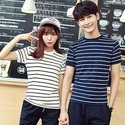 Azure - Couple Matching Set: Striped Short Sleeve T-Shirt + Cropped Drawstring Pants