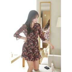 MyFiona - Tie-Waist Floral Chiffon Mini Shirtdress