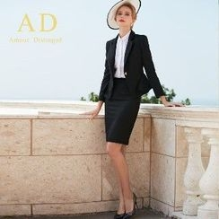 Aision - Ruffled Blazer / Pencil Skirt