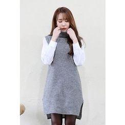 Dalkong - Turtle-Neck Slit-Side Dress