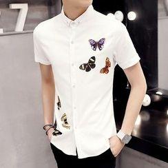 Keerme - Short-Sleeve Butterfly Print Shirt
