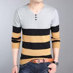 DUKESEDAN - Striped V-Neck Henley Sweater