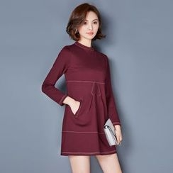 AiSun - Panel Long-Sleeve Dress