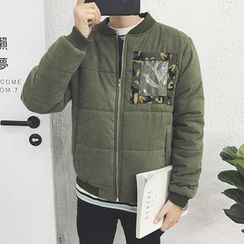 Harvin - Camouflage Applique Padded Bomber Jacket