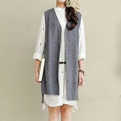 Yammi - Button Up Long Knit Vest