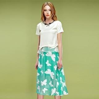 ELF SACK - Butterfly Print Midi Skirt
