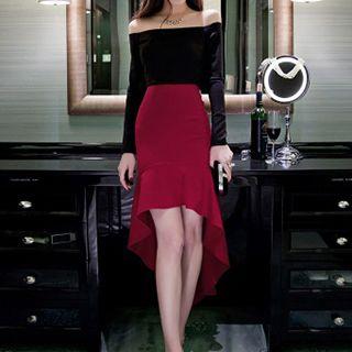 Dimanche - Off Shoulder Sheath High Low Cocktail Dress