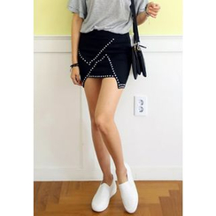 REDOPIN - Metal-Studded Inset Shorts Skirt