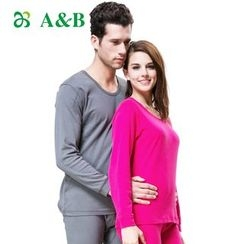 AnB - Couple Matching Set: Long-Sleeve T-Shirt + Leggings