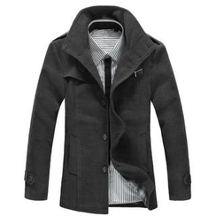 Free Shop - Belted Collar Button-Front Jacket