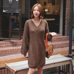 Seoul Fashion - V-Neck Knit Shift Dress