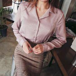 DABAGIRL - Notched-Collar Long-Sleeve Shirt