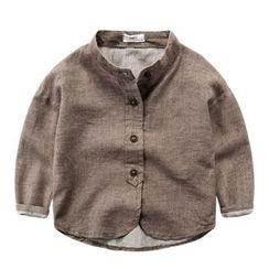 DEARIE - Kids Band Collar Long-Sleeve Shirt