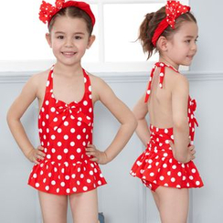 Charmaine - Kids Set: Dotted Swim Dress + Swim Bottom
