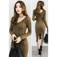 INSTYLEFIT - Slim-Fit Cable-Knit Midi Dress