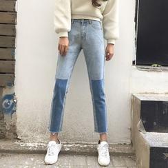 AMELA - 拼色散边下摆牛仔裤