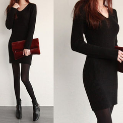 NIPONJJUYA - V-Neck Rib-Knit Bodycon Dress