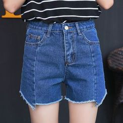 Nassyi - High Waist Denim Shorts