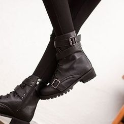 VIVIER - Faux-Leather Buckle-Detail Boots