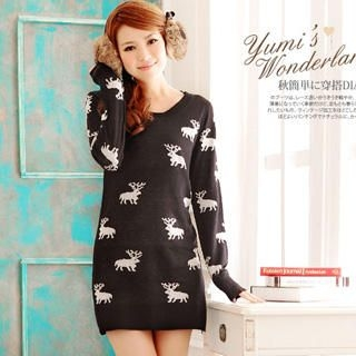 YUMI - Reindeer-Print Knit Dress