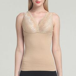 Giselle Shapewear - Lace Panel V-Neck Shaping Tank Top