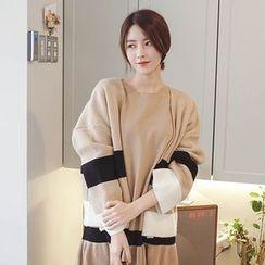 mimi&didi - Open-Front Color-Block Cardigan
