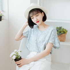 Forest Girl - Frill Sleeve Floral Print Top