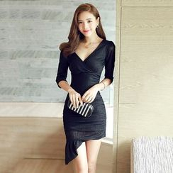 Lovi - 3/4-Sleeve V-Neck Asymmetric Bodycon Dress