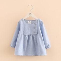 贝壳童装 - 儿童条纹长袖连衣裙