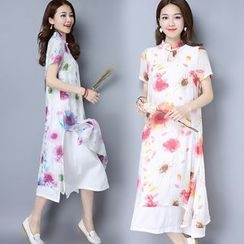Diosa - Floral Print Chiffon Stand-collar Dress
