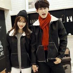 Tabula Rasa - Couple Matching Fleece-lined Faux Leather Jacket