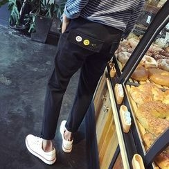 Arthur Look - Smiley Face Embroidered Slim Fit Pants